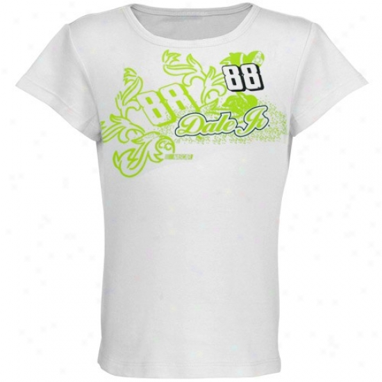 Dale Earnhardt Jr. Shirts : #88 Dale Earnhardt Jr. Youth Girls White Coral Racer Shirts