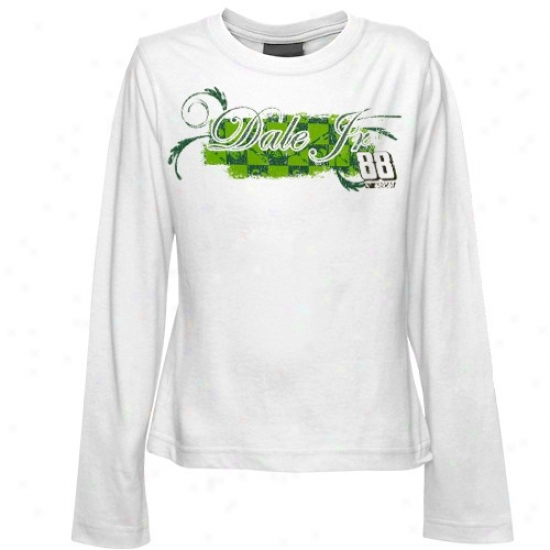 Dale Earnhardt Jr. Shirts : #88 Dale Earnhardt Jr. Youth Girls White On The Clock Long Sleeve Shirts