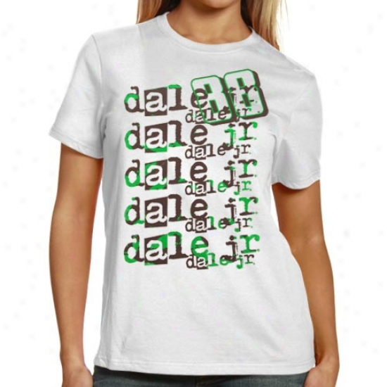 Dale Earnhardt Jr. Shirts : #88 Dale Earnhardt Jr. Ladies White Repeat Names Shirts