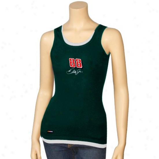 Dale Earnhardt Jr. Shirts : #88 Dale Earnhardt Jr. Ladies Green Harmony Layered Tank Top