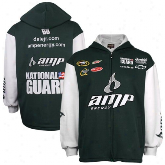 Dale Earnhardt Jr. Stuff: #88 Dae Earnhardt Jr. Green Uniform Full Zip Hoody Sweatshirt