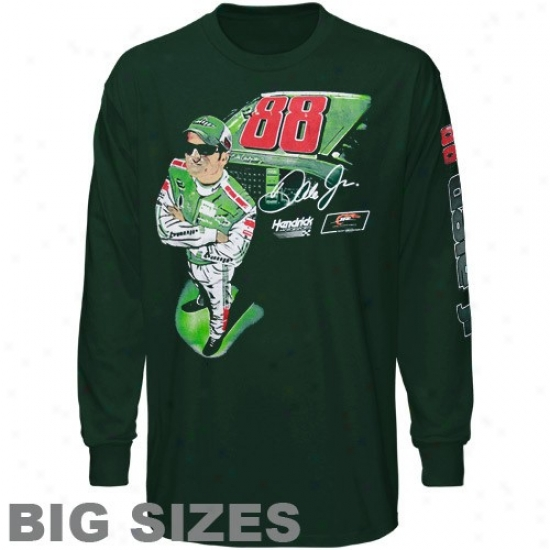 Dale Earnhardt Jr. T Shirt : #88 Dale Earnhardt Jr. Green Accelerated Strength Big Sizes Long Sleeve T Shirt