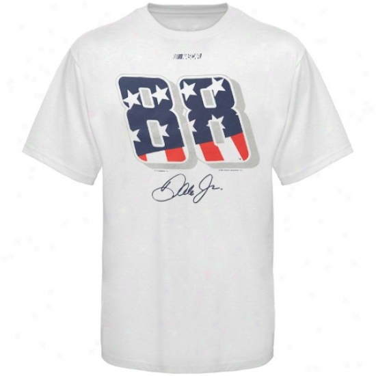 Dale Earnhardt Jr. T-shirt : #88 Dale Earnhardt Jr. White American Spirit T-shirt
