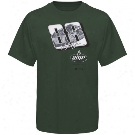 Dale Earnhardt Jr. T Shirt : #88 Dale Earnhardt Jr. Green Race View T Shirt