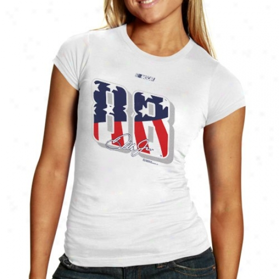 Dale Earnhardt Jr. T-shirt : #88 Dale Earnhardt Jr. Ladies White Stars & Stripes Number T-shirt