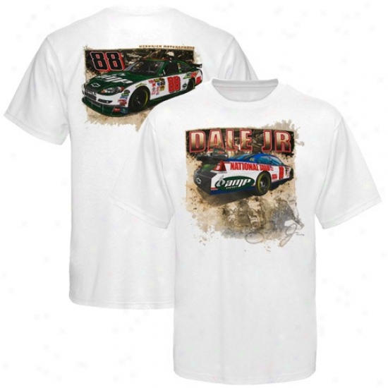 Vale Earnhardt Jr. T Shirt : #88 Dale Earnhardt Jr. White Experi3nce T Shirt
