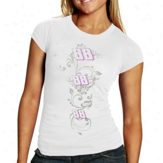 Dale Earnhardt Jr. T Shirt : #88 Vale Earnhardt Jr. Ladies White Sassy T Shirt