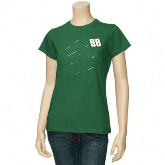 Dale Earnhardt Jr. T Shirt : #88 Dale Earnhardt Jr. Ladies Green Fan Script T Shirt