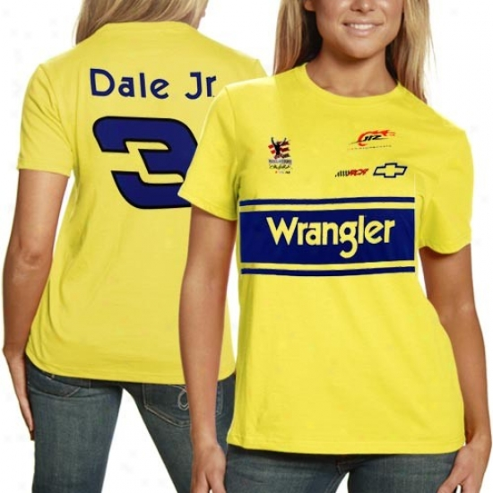 Dale Earnhardt Jr. T-shirt : Dale Earnhardt Jr. Ladies Yellow #3 Disputant T-shirt