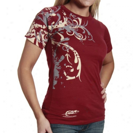 Dale Earnhardt Jr. T-shirt : Jr. Nation Ladies Garnet Side Vivid T-shirt
