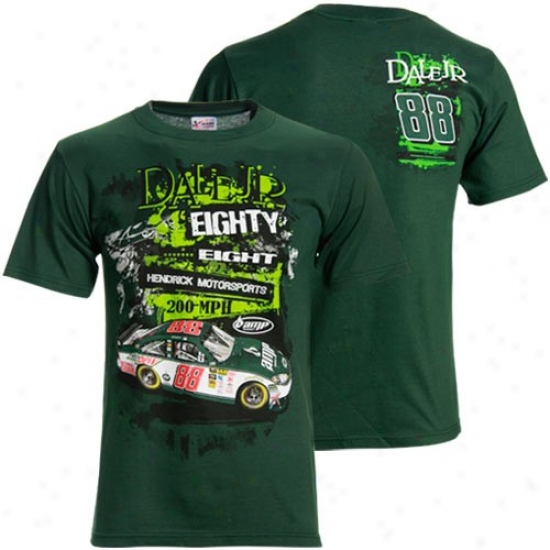 Vale Earnhardt Jr. Tees : #88 Dale Earnhardt Jr. Green Stacked Tees
