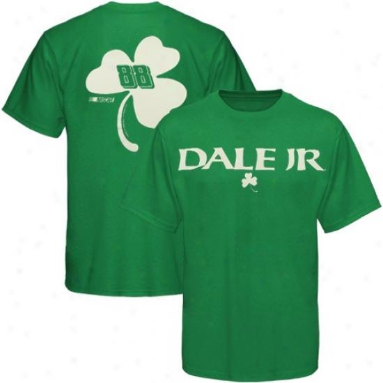 Dale Earnhardt Jr. Tees : #88 Dale Earnhardt Jr. Kelly Green St.-Patrick's Day Two-sided Clover Tees