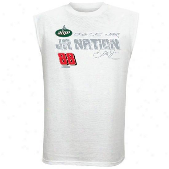 Dale Earnhardt Jr. Tees : #88 Dale Earnhardt Jr. White Fuel Cell Sleeveless Tees