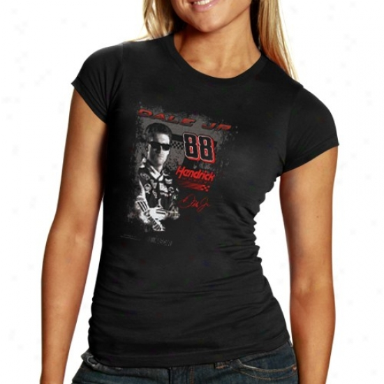 Dale Earnhardt Jr. Tshirt : #88 Dale Earnhardt Jr. Ladies Black Fan Pride Tshirt