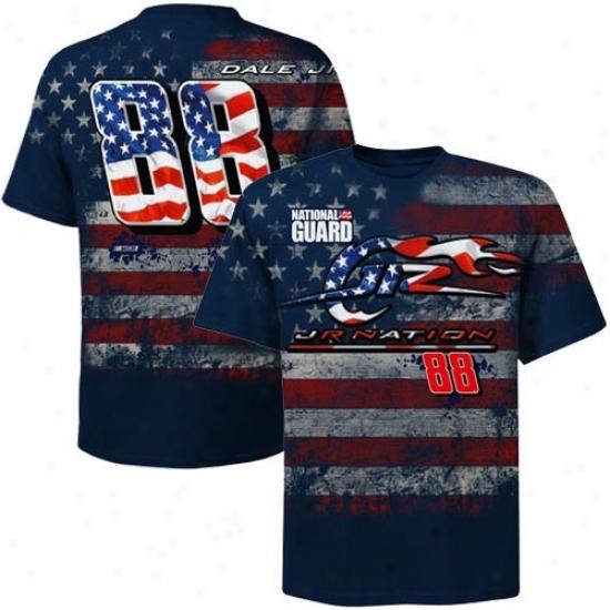 Dale Earnhardt Jr. Tshirt : #88 Dale Earnhardt Jr. Navy Pedantic  Oversize Premium Tshirg