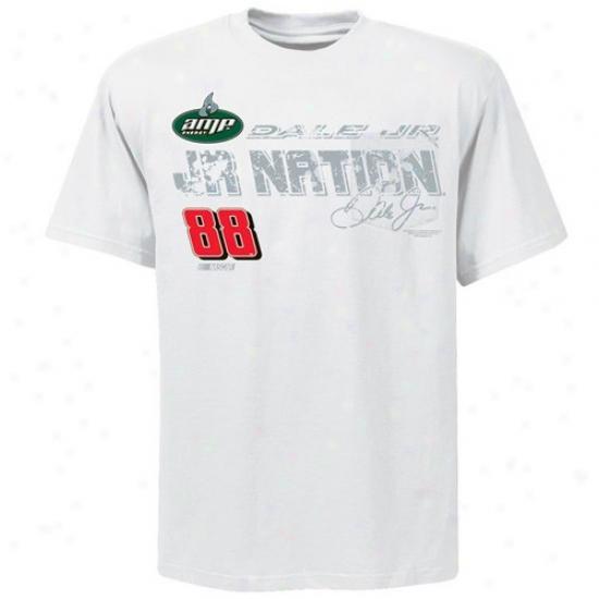Dale Earnhardt Jr. Tshirts : #88 Dale Earnhardt Jr. White Fuel Cell Tshirts