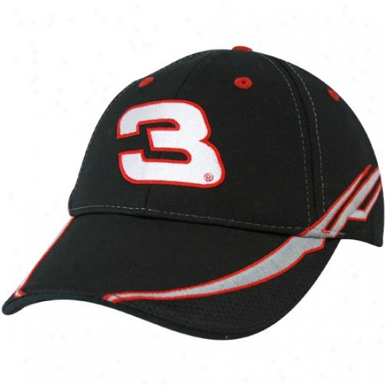Dale Earnhaddt Merchandise: #3 Dale Earnhardt Black Sponsor Adjustable Hat