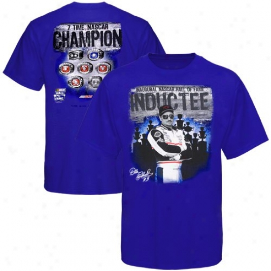 Dale Earnhardt Shirts : Dale Earnhardt Royal Blue 2010 Nascar Hall Of Fame Inductee Shirts
