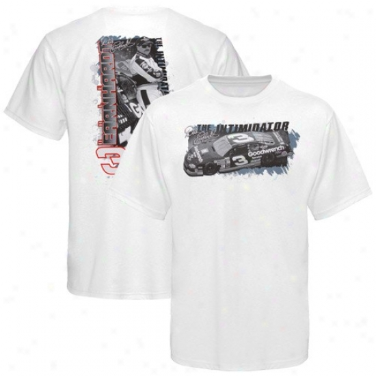 Dale Earnhardt T Shirt : #3 Dale Earnhardt White The Intimidator T Shirt