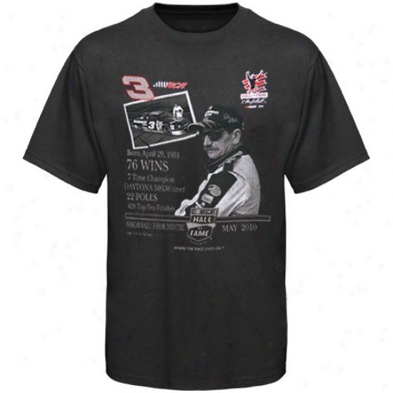 Dale Earnhardt Tshirts : #3 Dale Earnhardt Black 2010 Nascar Hall OfF ame Racer Tsshirts