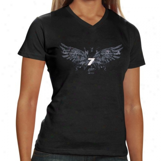 Danica Patrick Apparel: #7 Danica Patrick Ladies Black Wings T-shirt