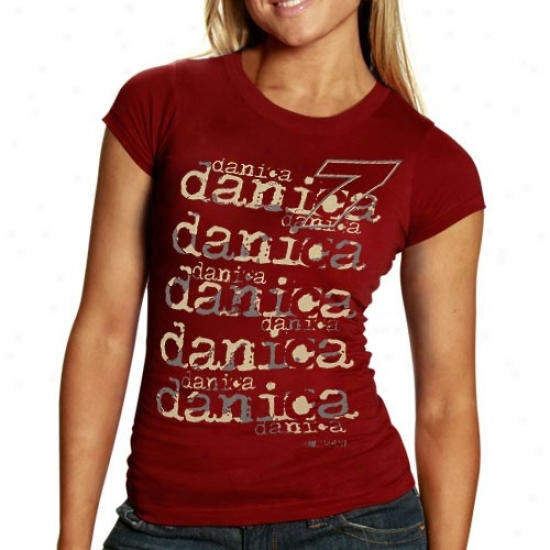 Danica Patrick Attire: #7 Danica Patrick Ladies Maroon Repeat Names T-shirt
