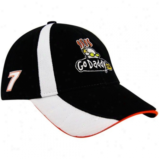 Danica Patrick Hats : #7 Danica Patrick Black-white 2010 Official Pit Adjustable Hats