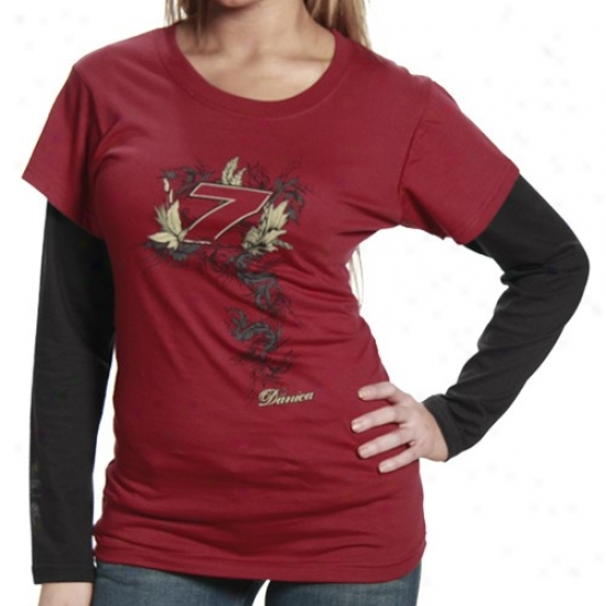 Danica Patrick Shirt : #7 Danica Patrick Ladies Burgundy-black Two-fer Double Stratum Shirt