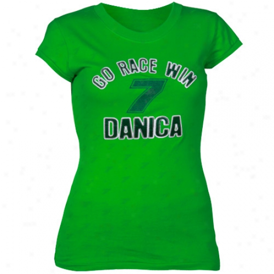 Danica Patrick Shirts : #7 Danica Patrick Ladies Green Go Race Win Shhirts