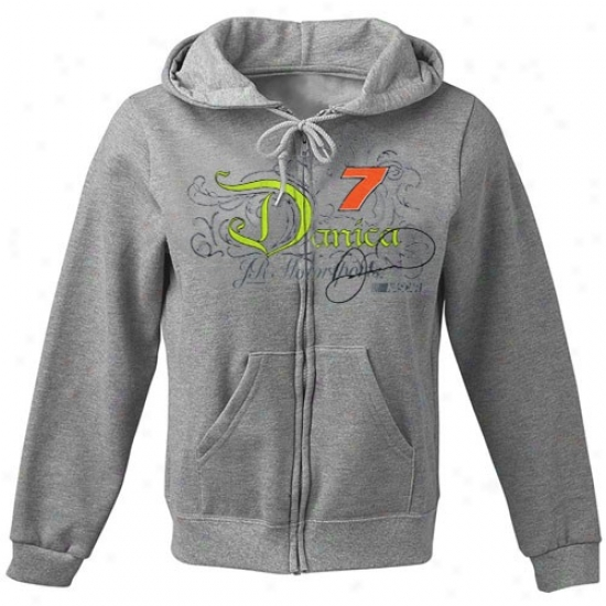 Danica Patrick Sweat Shirt : #7 Danica Patrick Ash Got The Setup Abounding Zip Sweat Shirt