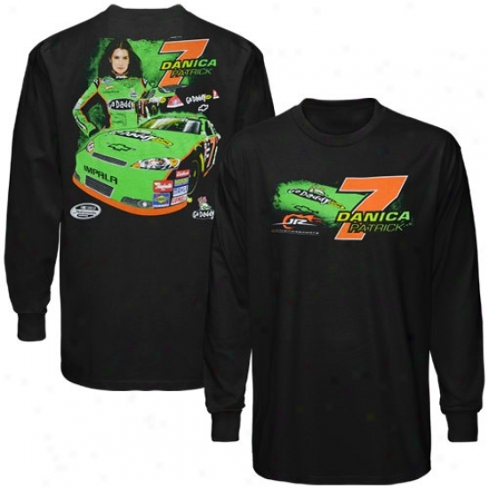 Danica Patrick T Shirt : #7 Danica Patrick Black Front And Back Long Sleeve T Shirt