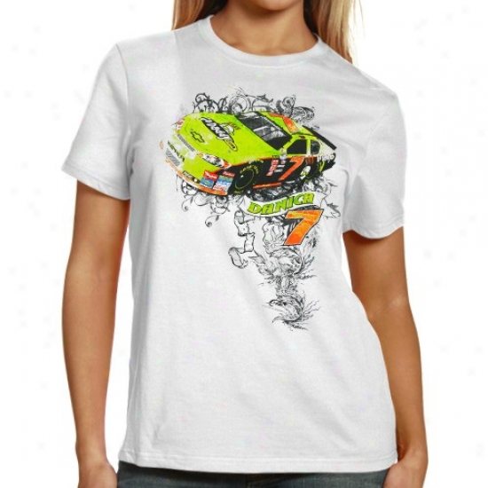 Danica Patrick T-shirt : #7 Danica Patrick Ladies White Rebel T-shirt