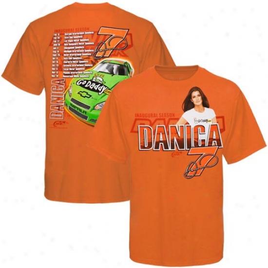 Danica Patrick T Shirt : #7 Danica Patrick Orange Inaugural Season T Shirt