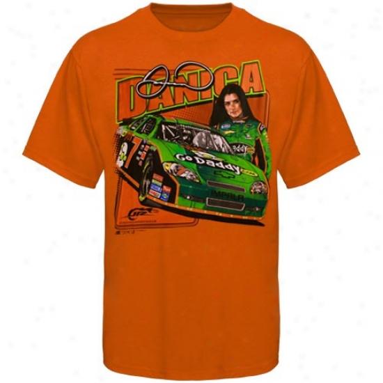 Danica Patrick T Shirt : #7 Danica Patrick Orange Frlnt Straightway T Shirt