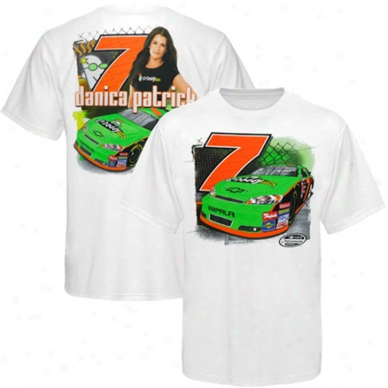 Danica Patrick T-shirt : #7 Danica Patrick White Face And Back T-shirt