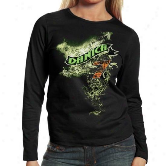 Danica Patrixk Tshirt : #7 Danica Patrick Ladies Black Banner Long Sleeve Tshirt