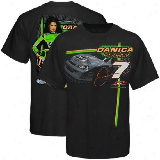 Danica Patrick Tshirts : #7 Danica Patrick Black Signature Tshirts