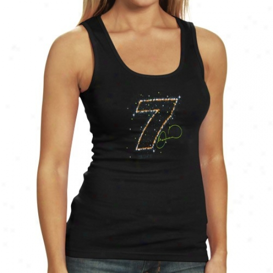 Danjca Patrick Tshirts : #7 Danica Patrick Ladies Black Flazhy Tank Top
