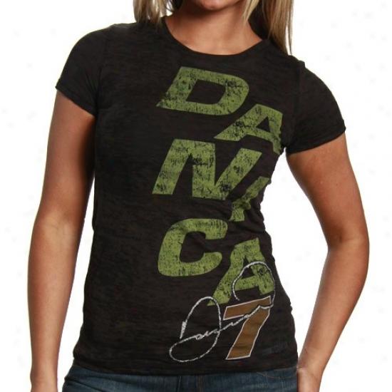 Danica Patrick Tshirts : #7 Danica Patrick Ladies Black Breeze Premium Burnout Tshirts