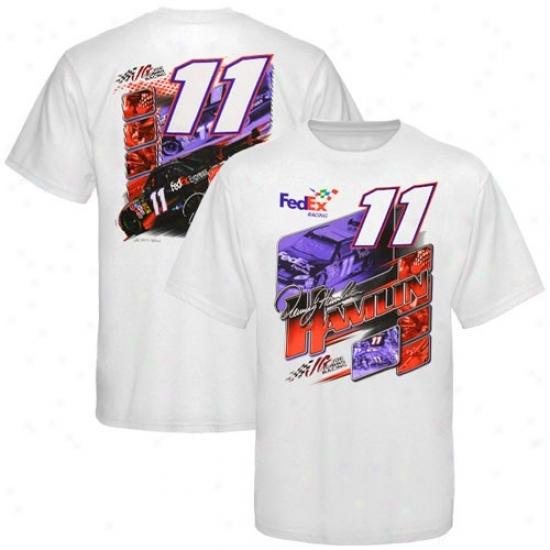 Denny Hamlin Attire: #11 Denny Hamlin White T-shirt