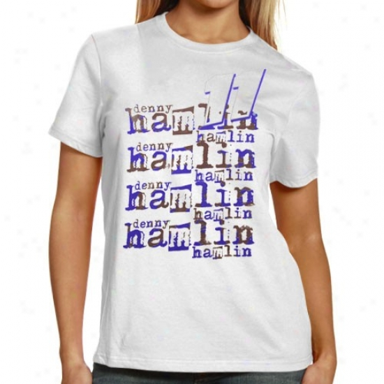 Denny Hamlin Shirt : #11 Denny Hamlin Ladies White Repeat Names Shirt