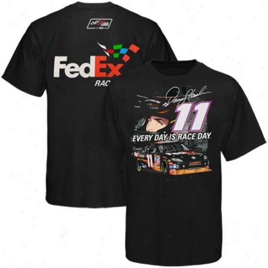 Denny Hamlin Tshirt : #11 Denny Hamlin Black Track Down Tshirt