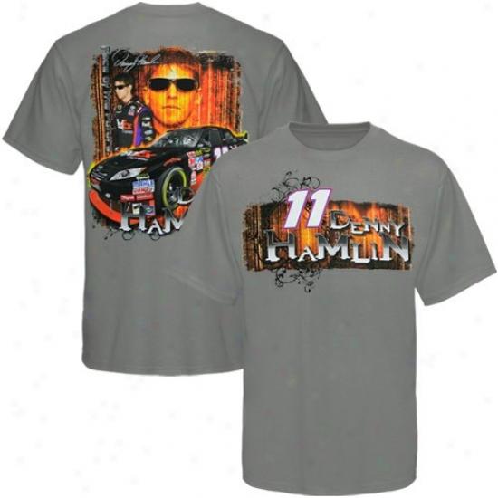 Denny Hamlin Tshirt : #11 Denny Hamlin Gray Front And Back Tshirt