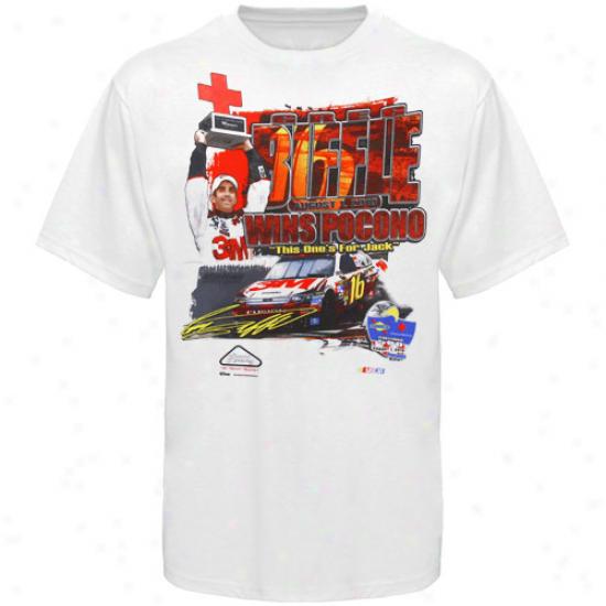 Greg Biffle Tshirte : 16# Greg Biffle White 2010 Pocono Win Tshirts