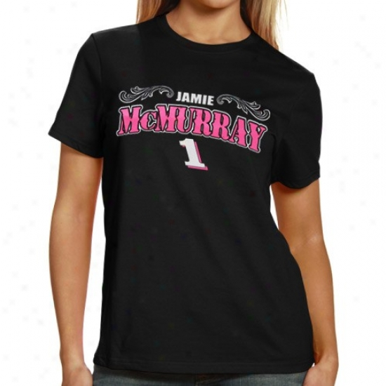 Jamie Mcmurray T-shir t: #1 Jamie Mcmurray Ladies Black Pihk Arch Name T-shirt