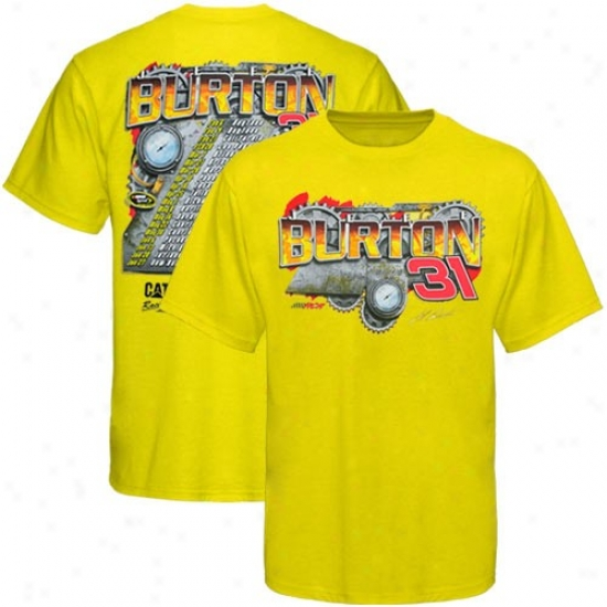 Jeff Burton Shirts : #31 Jeff Burton Gold 2010 Schedule Shirts