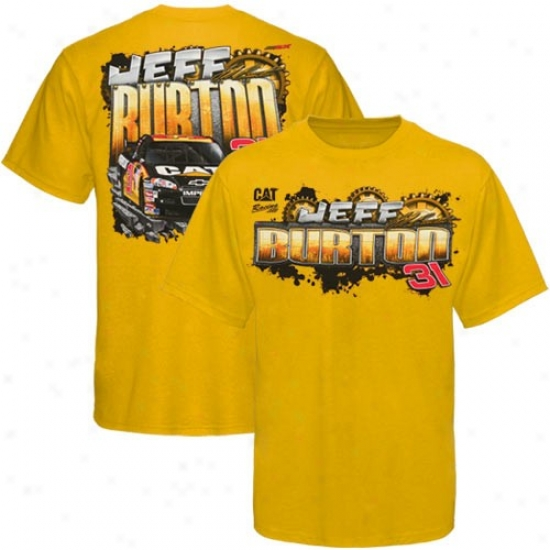 Jeff Burton Shirts : #31 Jeff Burton Youth Gold Gears Shirts