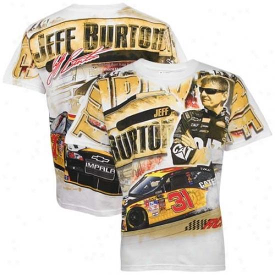 Jeff Burton T Shirt : #31 Jeff Burton White Tonal Print T Shirt