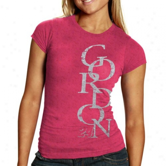 Jeff Gordon Attire: #24 Jeff Gordon Ladies Pink Race Fan Burnout T-shirt