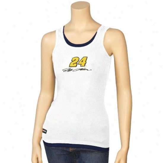 Jeff Gordon Attire: #24 Jeff Gordon Ladies White Highland Layered Tank Top